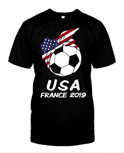 Tete Global USA Womens Soccer Kit France 2019 Girls Football Fans T-Shirt Black