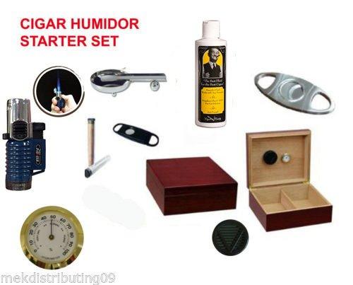 50 ct. Cherry Wood Humidor Starter Gift Set Cutter Lighter Ashtray Gel