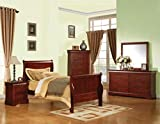 Acme Louis Philippe III Twin Bed, Cherry Finish