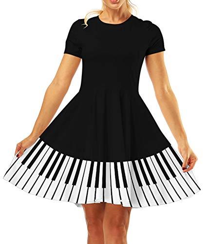 GLUDEAR Women's 3D Print Short Sleeve Unique Casual Flared Midi Dress,Piano,S/M -