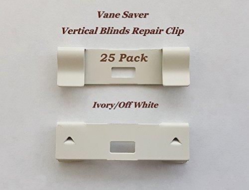 25 Pack VERTICAL BLIND Vane Saver ~ Ivory Curved Repair Clips ~ Fixes Broken Holes
