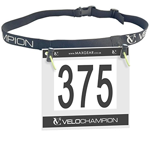 - VeloChampion Marathon Triathlon/Runners Running Race BIB Waist Hip Holders Number Card Belt