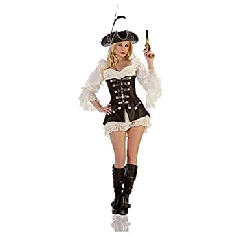 Mystery House Women's Rouge Pirate Costume,Black/Ivory,Small