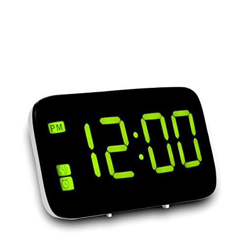 Digital LED Display Alarm Clock with USB Charger and Snooze,Large Digital Display with Power Savingmode,Voice Control and Adjustable Dimmer,Bedside Desk Clock (Green)