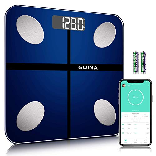 Body Fat Scale Bluetooth Digital, Bathroom Scale with BMI, Weight Scale with Body Fat Scale with 4 Hight Precision Sensors, 8MM Shatter-Resistant Tempered Glass and APP (Blue2)
