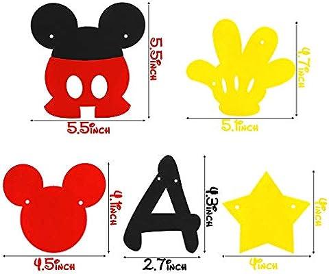 Amazon.com: BeYumi Mickey Mouse - Pancarta de cumpleaños ...