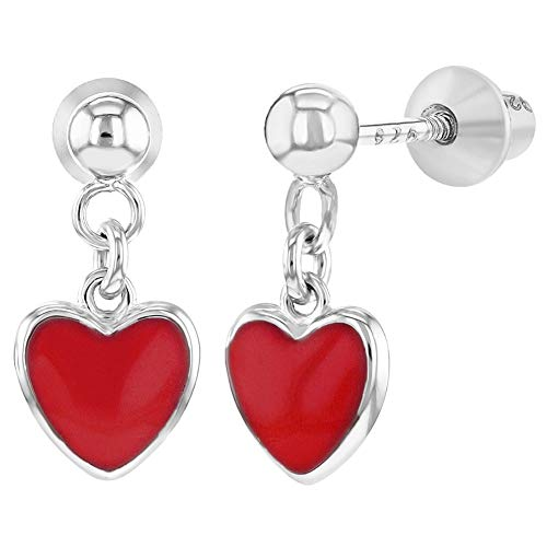 925 Sterling Silver Red Enamel Heart Screw Back Dangle Earrings Girls Teens