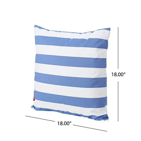 Christopher Knight Home Coronado Outdoor Water Resistant Square Throw Pillow, Blue / White - Add some color to your patio set with this water resistant outdoor pillow Made from top quality fabric that won't absorb every drop of water and dirt, this pillow was designed with both the outdoors and your patio in mind Manufactured in China - patio, outdoor-throw-pillows, outdoor-decor - 41bOKsdBfbL. SS570  -
