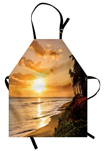Ambesonne Hawaiian Apron, Warm Tropical Sunset on Sands of Kaanapali Beach in Maui Hawaii Traveling, Unisex Kitchen Bib Apron with Adjustable Neck for Cooking Baking Gardening, Orange Green Pink