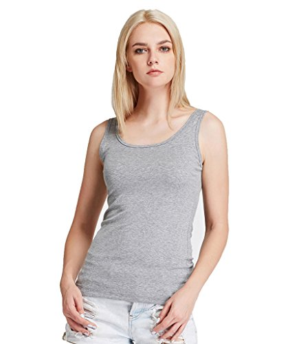 Liang Rou Camiseta sin mangas elástica de licra modal nervada cuello redondo para mujer Gris Claro