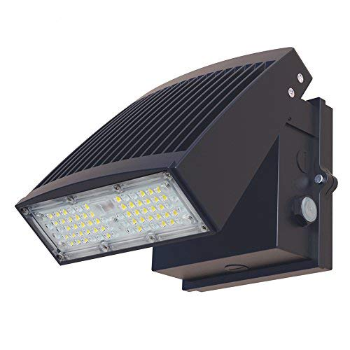7150Lm Led Wall Pack Light with Photocell, Dusk to Dawn, 55W Outdoor LED Flood Lights, Adjustable Head, Super Bright (200W Metal Halide/HPS Eq.), 5000K Daylight LED Security Lighting, IP65(UL-Listed)