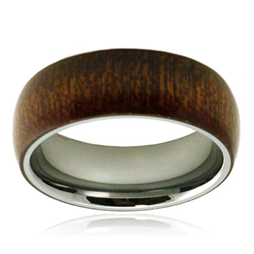 Tioneer Stainless Steel Mahogany Wood Inlay Domed Ring, Size 10.5