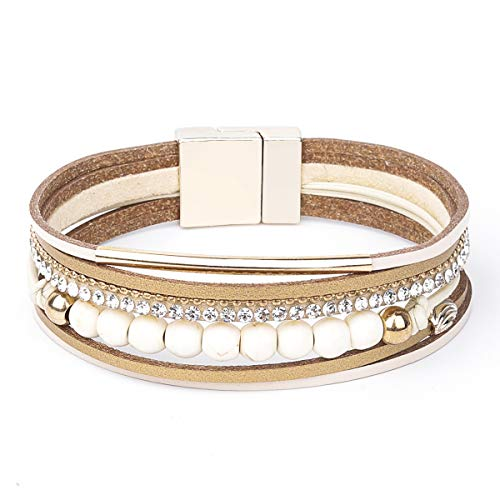 Womens Leather Cuff Bracelet - Braided Wrap Bangle Handmade Multi Layer Jewelry - with Alloy Magnetic Clasp - Bohemian Gift for Women, Mother,Girls ((6 Natural Stones)-Beige)