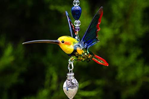 Murano Glass Yellow Headed Hummingbird Silver Keepsake Heart Urn