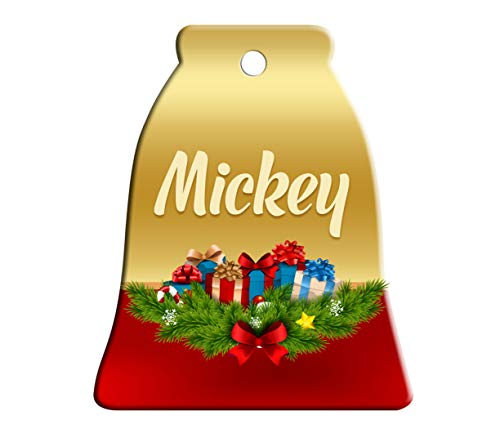 Makoroni - Mickey Male Name Christmas Ornament (Bell) - Bell Holiday Christmas Baby Shower Wedding - Mickey Welcome Bell