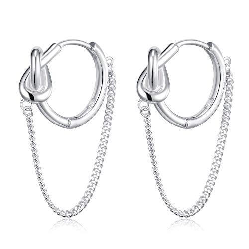 Chain Platinum Earrings - HUIMEI Sterling Silver Twisted Chain Cartilage Hoop Earrings