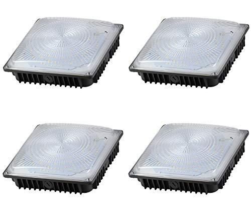 LED Waterproof Canopy Light Fixture 65W; 7,500 Lumens; Internal Driver; Outdoor High Bay Carport Ceiling Light; 5000K; DLC Listed; 10 Year Warranty (4 Pack)