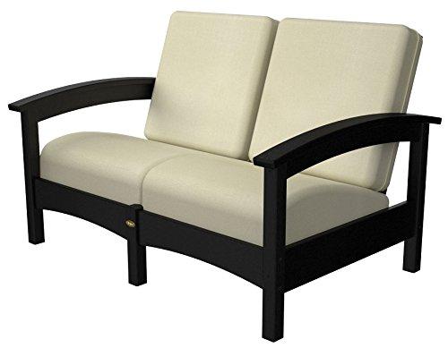POLYWOOD TXC47CB-5472 Deep Seating Settee, Charcoal Black/Bird's Eye ()