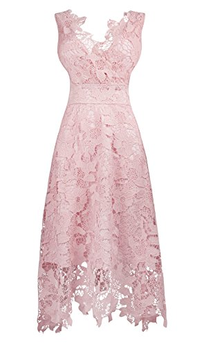 KIMILILY Women's Floral Lace V Neck Formal Swing Cocktail Evening Party Dress(Lp,M) (Womens Cocktail Dress Pink)