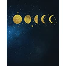 Bullet Journal: 8 x 10 Gold Moon Phases Galaxy Bullet Journal - Blank Notebook, 1/4 inch Dot Grid with 160 Pages, Sturdy Matte Softcover Dotted Paper, Perfect Bound, Watercolor Constellations Stars Galaxy Diary