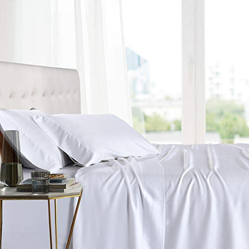 Royal Tradition Exquisitely Lavish Body Temperature-Regulated Bedding, 100% Viscose from Bamboo, 300 Thread Count, 3 Piece Twin Extra Long (Twin XL) Size Deep Pocket Silky Soft Sheet Set, White