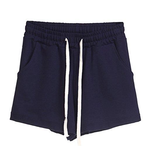 Elastica Tinta Pants Coulisse Donna Unita Pantaloni Hot Vita Pantaloncini Marina Casuale Sport Qitunc Militare Corti aTqxta