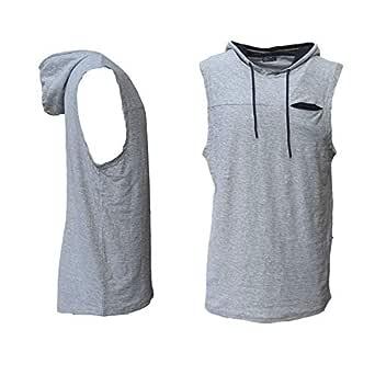 Zmart Australia Men's Sleeveless Hoodie Top w Pocket Hooded Gym Muscle Vest Singlet Hoody Cotton, Light Grey, S