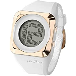 ZERONE HD White IP Rose Gold Digital Watch Hidden Digital