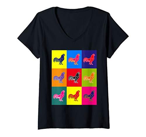 Womens Cool n A Little Weird Retro Pop Art Barnyard Rooster V-Neck T-Shirt