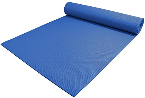 YogaAccessories 1/4' Thick High-Density Deluxe Non-Slip Exercise Pilates & Yoga Mat, Dark Blue