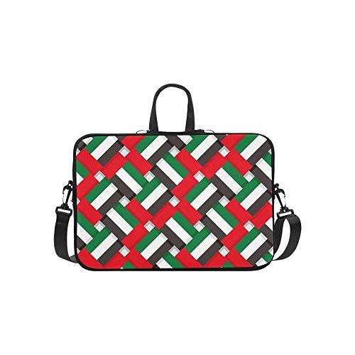 Repeating United Arab Emirates Flag Traditional Briefcase Laptop Bag Messenger Shoulder Work Bag Crossbody Handbag for Business Travelling
