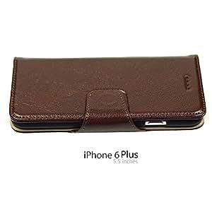 OnlineBestDigital - 100% Handmade Genuine Leather Flip Stand Case for Apple iPhone 6 Plus (5.5 inch) Smartphone - Brown