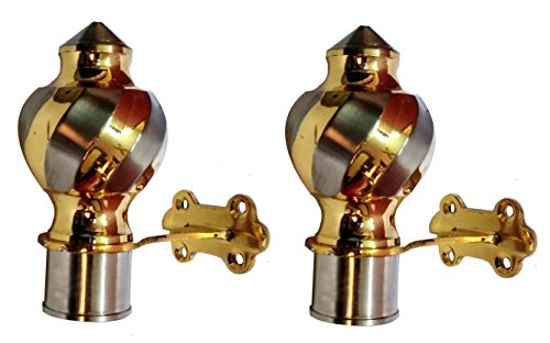 Majestic Finials Brass SET OF 2 Gold And Silver CURTAIN BRACKET FOR DOOR&WINDOW