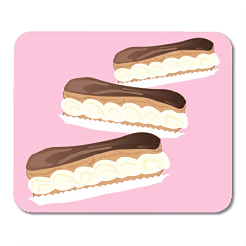 Emvency Mouse Pads Dessert in 10 of Three Delicious Chocolate Eclairs Abstract Mouse Pad for notebooks, Desktop Computers mats 9.5