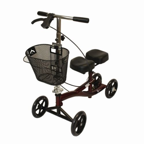 "Roscoe Medical ROSROSKSBG Knee Scooter, 4'11""-6'6"" Height Range, 8"" Wheels, 350 lb. Weight Capacity, Steel Frame, Mahogany Red"