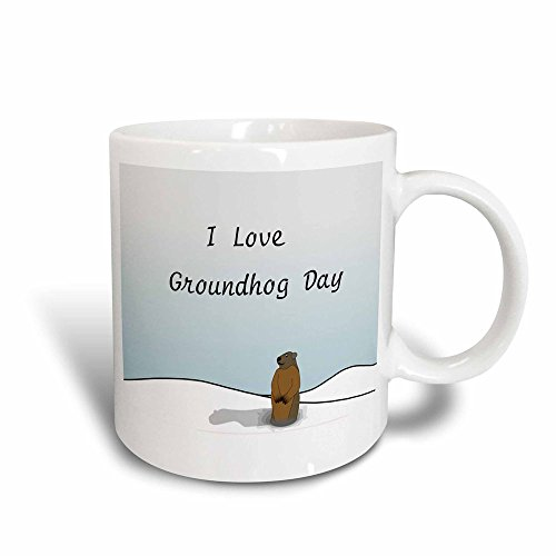 3dRose mug_204327_3 Print Of I Love Groundhog Day Cartoon Mug, 11 oz]()