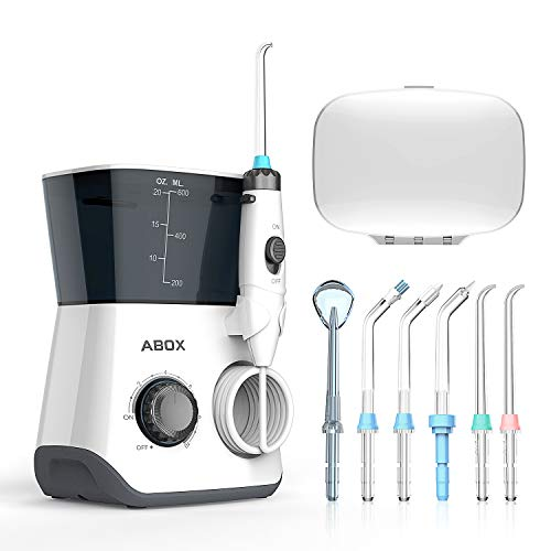 Water Flosser, ABOX Dental Oral Irrigator 600ml Capacity with 8 multifunctional Tips 10 Water Pressures Countertop Dental Flosser(FDA Approved)