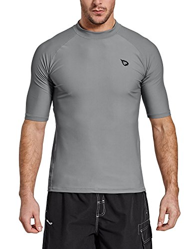Baleaf Men's Short Sleeve Rashguard Swim Shirt UPF 50+ Sun Protection Rash Guard Grey Size L by Baleaf
