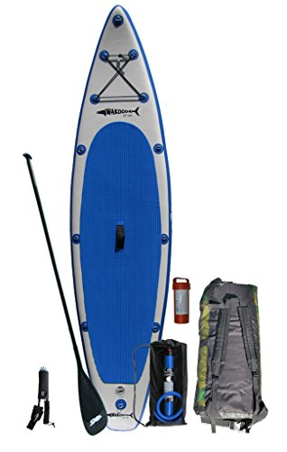 Wakooda GT126 Blue/Gray Inflatable SUP Package includes board, carbon fiber adustable paddle, Bravo High Volume Dual Action Manual inflation pump, backpack, patch kit, and ankle leash. (BLUE)