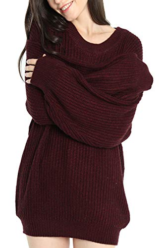 Liny Xin Women's Cashmere Oversized Loose Knitted Crew Neck Long Sleeve Winter Warm Wool Pullover Long Sweater Dresses Tops (Model 2, Dark Red)