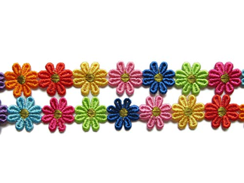"YYCRAFT 5 Yards Colorful Venise Lace Edge 1 1/8"" Flower Trim Applique for DIY Sewing Embellishment Crafts"