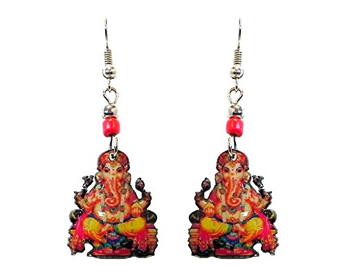 Ganesha Elephant Dangle Earrings (Red) ()