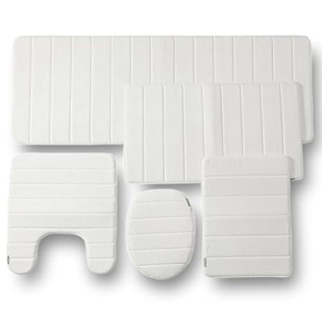 amazon com 5pc memory foam bathroom set combo white by townhouse rh amazon com Bathroom Rugs Memory Foam Bath Mat Sets
