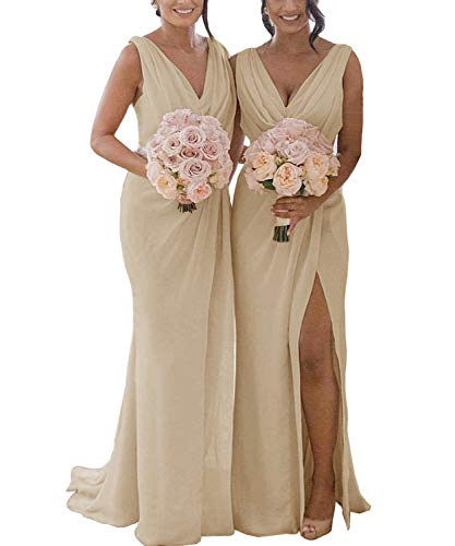 Women's Double V Neck A Line Formal Long Pleated Slit Chiffon Bridesmaid Dress Long Simple Evening Dresses Champagne US12