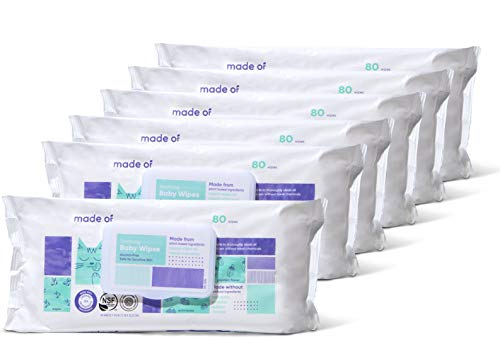 Organic Baby Wipes by MADE OF - Soothing Soft for Sensitive Skin and Eczema - NSF Organic and EWG Verified - Made in USA - Fragrance Free/Unscented (6 Pack)