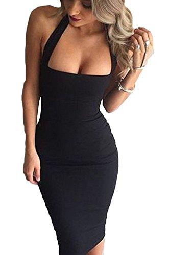 Strapless Bandage (Gamery Women's Sexy Halter Strapless Bandage Party Bodycon Midi Dress Clubwear Medium Black)