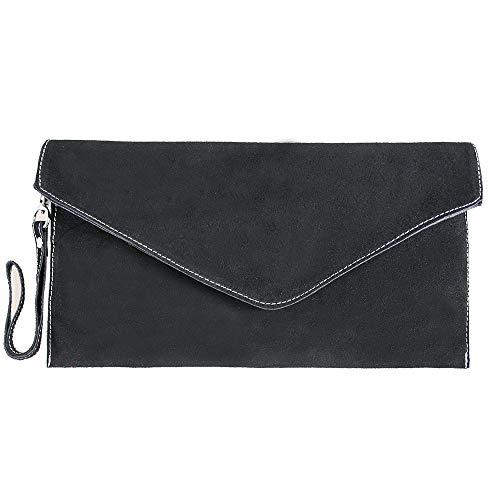 Leather Evening Genuine Bag Small Italian Womens Suede Clutch Black Elegant Envelope nI6qS1Uw