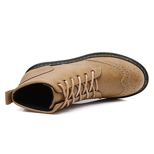 Meeshine Klassiek Lederen Enkellaarzen Met Veters Enkellaarsjes Casual Outdoor Combat Flats Schoenen Bruin