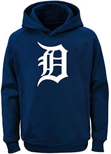 Outerstuff MLB Youth 8-20 Team Color Polyester Performance Primary Logo Pullover Sweatshirt Hoodie (Small 8, Detroit Tigers) Detroit Tigers Youth Fleece Pullover