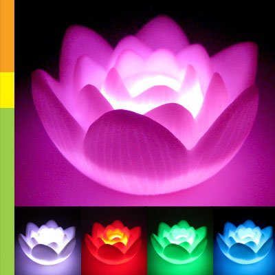 SODIAL(R) Color Changing LED Lotus Flower Romantic Love Mood Lamp Night Light Wedding Favor Decoration